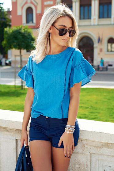Bluza dama casual din bumbac Top Secret albastra cu maneci clopot