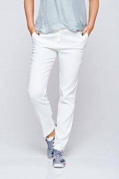 Pantaloni conici cu talie medie Top Secret albe cu buzunare