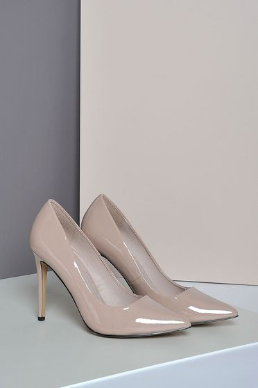 Pantofi stiletto Top Secret rosa elegant cu toc inalt din piele ecologica