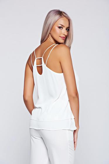 Top Top Secret alb eleganta cu croi larg
