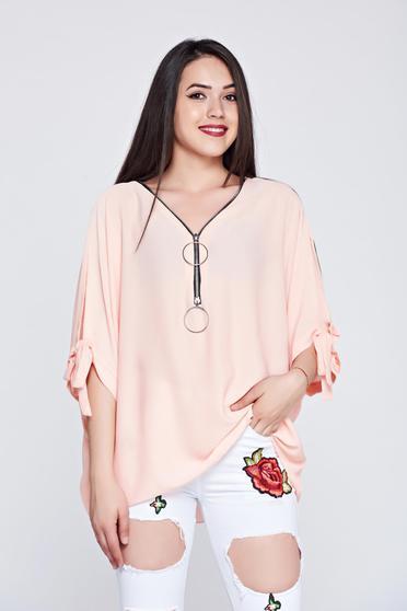 Bluza dama casual cu croi larg piersica din material vaporos
