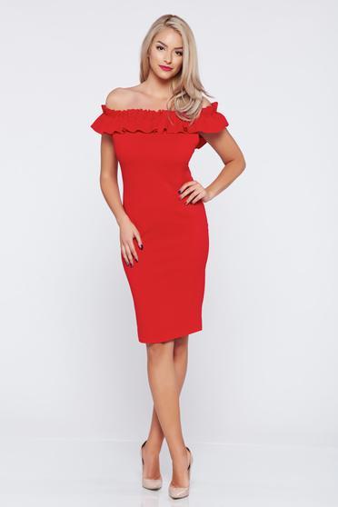 Rochie fara maneci pe umeri rosie din material elastic