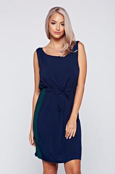 Rochie Top Secret albastru-inchis fara maneci cu elastic in talie