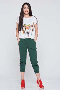 Pantaloni casual verde inchis cu elastic in talie