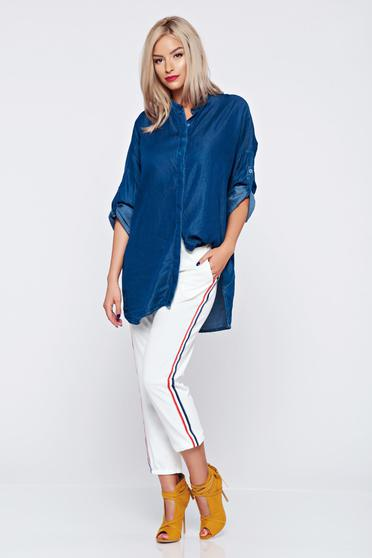 Pantaloni casual albi cu elastic in talie