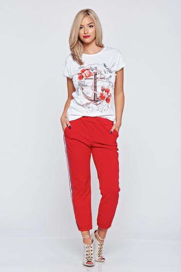 Pantaloni casual rosii cu elastic in talie