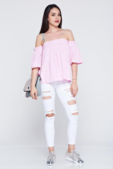 Bluza dama cu croi larg cu maneca scurta roz deschis cu dungi