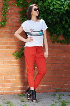 Pantaloni cu buzunare corai cu elastic in talie