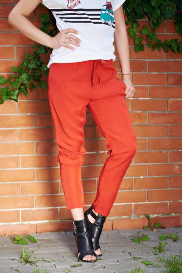 Pantaloni corai casual cu buzunare cu elastic in talie