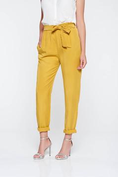 Pantaloni mustarii casual cu buzunare cu elastic in talie