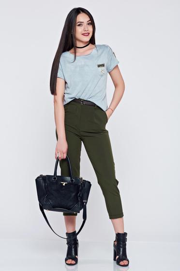Pantaloni office cu buzunare verde inchis cu accesoriu tip curea