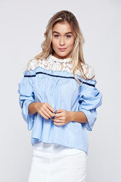 Camasa dama albastra din bumbac cu aplicatii de dantela