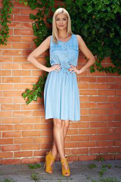 Rochie casual fara maneci albastra cu elastic in talie