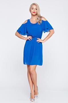 Rochie din voal cu elastic in talie albastra cu umeri decupati