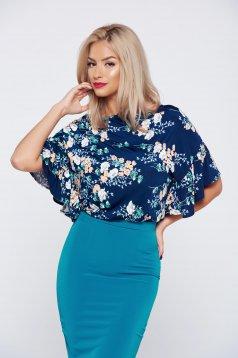 Bluza dama eleganta cu croi larg StarShinerS albastru-inchis cu imprimeu floral