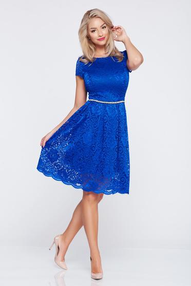Rochie eleganta in clos StarShinerS albastru-inchis din material dantelat