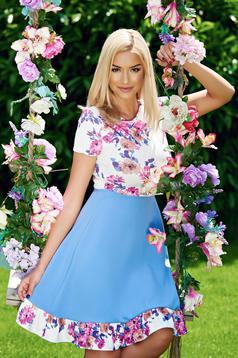 Rochie in clos cu maneca scurta StarShinerS albastra cu imprimeuri florale