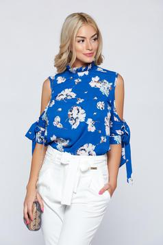 Bluza dama cu croi larg PrettyGirl albastra cu umeri goi