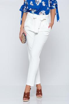Pantaloni conici cu talie inalta PrettyGirl albe cu buzunare