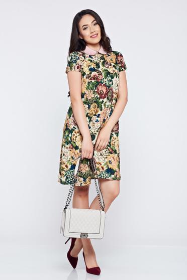 Rochie din voal cu guler rotunjit PrettyGirl verde cu imprimeuri florale
