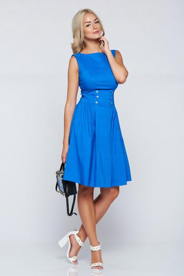 Rochie casual in clos PrettyGirl albastra fara maneci