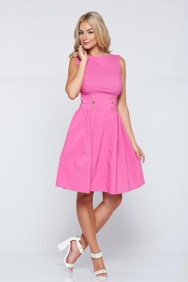 Rochie casual in clos PrettyGirl roz fara maneci