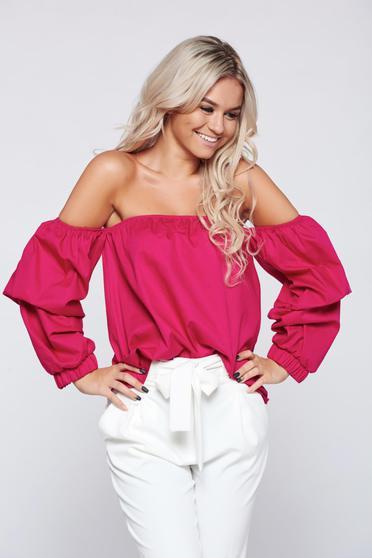 Bluza dama casual cu croi larg PrettyGirl roz cu umeri goi