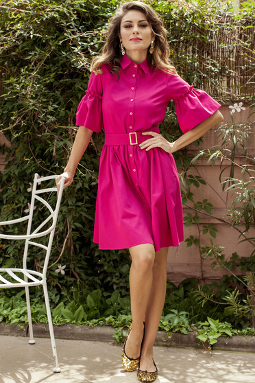 Rochie de zi in clos PrettyGirl roz cu maneci clopot