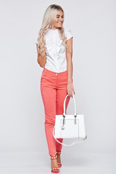 Pantaloni conici cu talie medie PrettyGirl corai cu buzunare