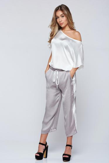 Pantaloni PrettyGirl gri casual 3/4 cu buzunare