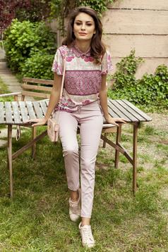 Pantaloni conici cu talie medie PrettyGirl rosa cu buzunare