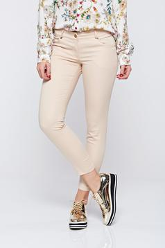 Pantaloni PrettyGirl crem office conici cu talie medie