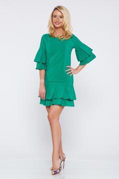 Rochie PrettyGirl verde cu croi larg cu volanase