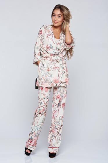 Pantaloni Festival Look by PrettyGirl albi cu imprimeuri florale cu buzunare