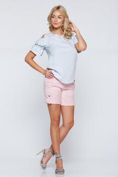 Bluza dama PrettyGirl albastra-deschis din material vaporos cu umeri goi