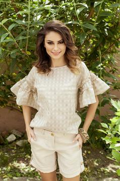 Bluza dama PrettyGirl crem din material vaporos cu maneci tip fluture