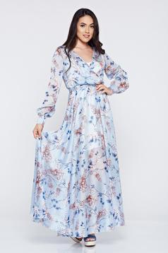 Rochie din material vaporos PrettyGirl albastra-deschis cu imprimeuri florale
