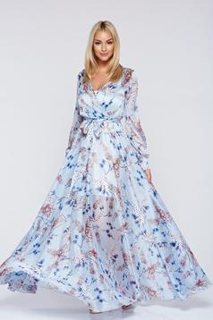 Rochie PrettyGirl albastra-deschis din material vaporos cu imprimeuri florale