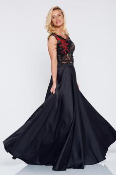 Set brodat elegant LaDonna negru din material satinat