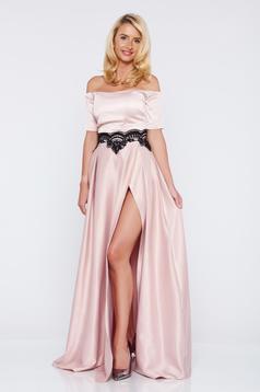 Rochie Artista rosa de ocazie din material satinat cu insertii de broderie