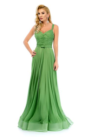 Rochie Ana Radu verde de seara cu bretele accesorizata cu cordon
