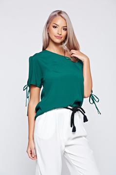 Bluza dama Top Secret verde cu croi larg cu maneca scurta