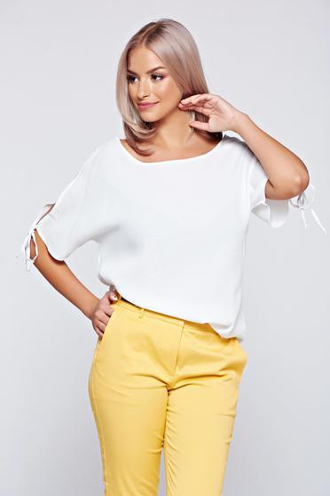 Bluza dama Top Secret alba cu croi larg cu maneca scurta