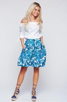 Fusta Top Secret albastra casual in clos cu imprimeuri florale