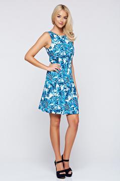 Rochie Top Secret albastra fara maneci cu imprimeuri florale