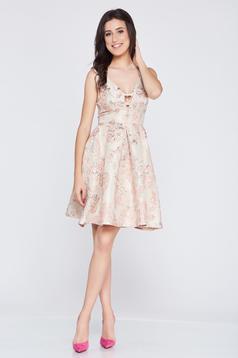 Rochie eleganta din jaquard Fofy rosa cu spatele decupat