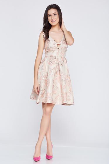 Rochie Fofy rosa din jaquard cu spatele decupat