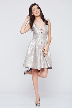 Rochie eleganta din jaquard Fofy gri cu spatele decupat
