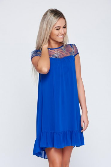 Rochie eleganta din voal Fofy albastra cu aplicatii de dantela