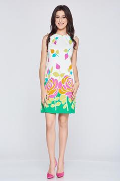Rochie cu croi larg fara maneci Fofy verde cu imprimeu floral